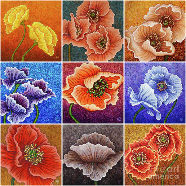 Painting - Poppy Painting Tiles X 9 Set 1 by Amy E Fraser