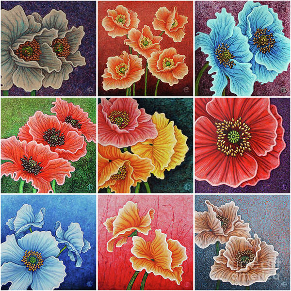 Painting - Poppy Painting Tiles X 9 Set 2 by Amy E Fraser