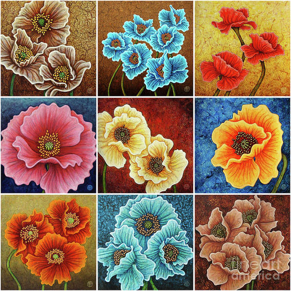Painting - Poppy Painting Tiles X 9 Set 3 by Amy E Fraser