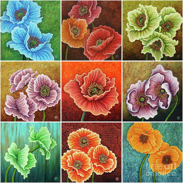 Painting - Poppy Painting Tiles X 9 Set 4 by Amy E Fraser