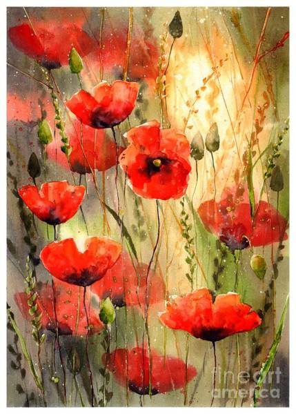 Happiness Painting - Poppy Serenade by Suzann Sines