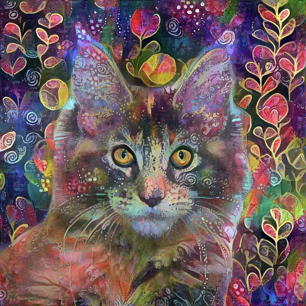 Digital Art - Poppy The Maine Coon Cat In The Garden by Peggy Collins