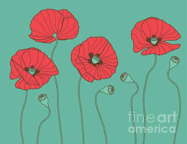Florist Wall Art - Digital Art - Poppys - Vector Illustration by Trendywest