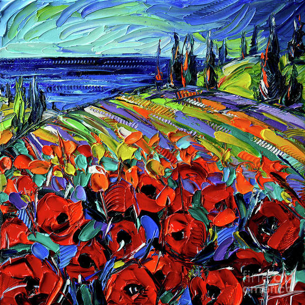 Wall Art - Painting - Poppyscape Etude by Mona Edulesco