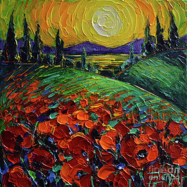 Wall Art - Photograph - Poppyscape Sunset - Impasto Palette Knife Acrylic Painting Mona Edulesco by Mona Edulesco