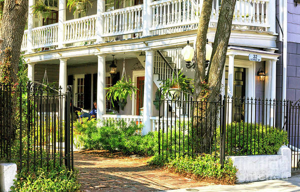 Photograph - Porch Reading In Charleston by John Rizzuto
