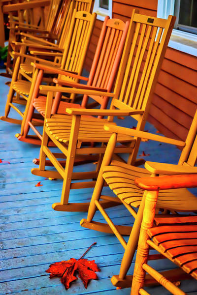 Rocking Chair Wall Art - Photograph - Porch Rocking Chairs by Garry Gay