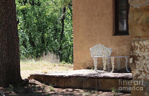 Photograph - Porch Scene With Woodpecker On Tree Fort Stanton by Colleen Cornelius