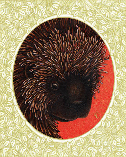 Painting - Porcupine Portrait - Cream Border by Amy E Fraser