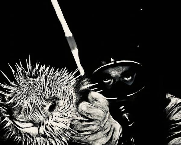 Diodon Photograph - Porcupine Puffer In Bw by Christina Ford
