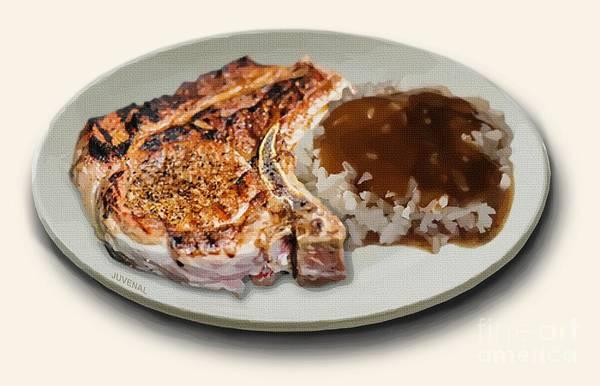 Fashion Plate Digital Art - Pork Chop And Rice by Joseph Juvenal