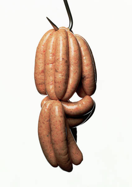 Hanging Photograph - Pork Sausages Hanging On Hook, Close-up by Kevin Summers