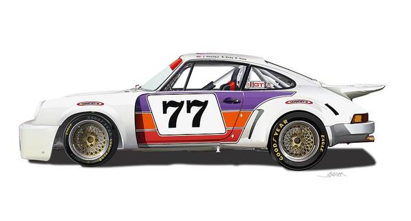 Entry Drawing - Porsche 911 Rsr No Background by Alain Jamar