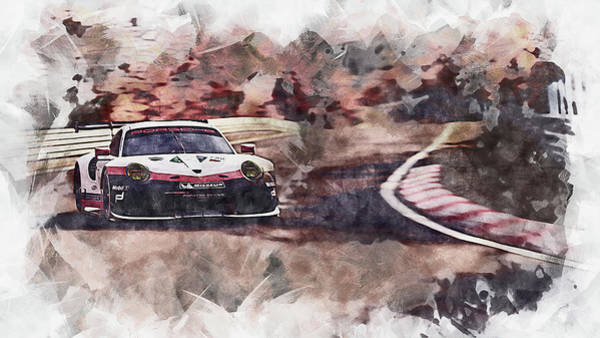 Wall Art - Painting - Porsche 911 Rsr, Racing In The Green Hell - 04 by Andrea Mazzocchetti