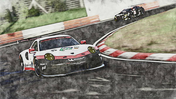 Wall Art - Painting - Porsche 911 Rsr, Racing In The Green Hell - 05 by Andrea Mazzocchetti