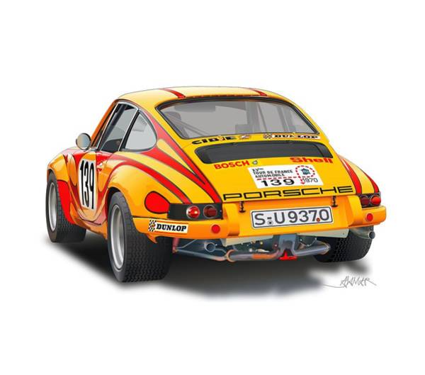 Wall Art - Drawing - Porsche 911 Rsr Rear Illustration by Alain Jamar