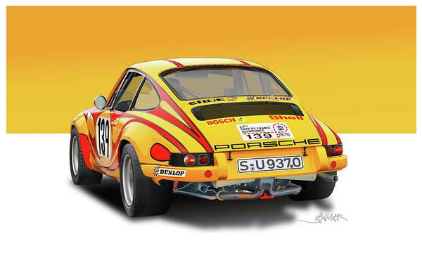 Wall Art - Drawing - Porsche 911rs Rear View by Alain Jamar