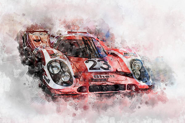 Wall Art - Digital Art - Porsche 917 Kurzheck 4.5l, Winner 1970 24 Hours Of Le Mans by Roger Lighterness
