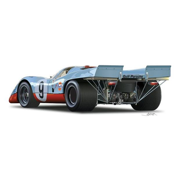 Wall Art - Drawing - Porsche 917 Rear No Background by Alain Jamar