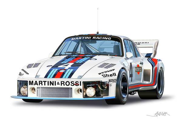 Wall Art - Drawing - 1976 Porsche 935 Martini by Alain Jamar
