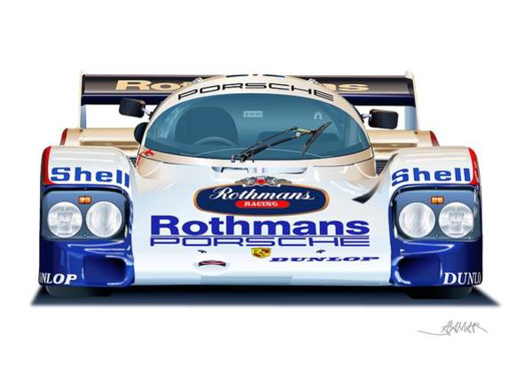 Wall Art - Drawing - Porsche 962 Al Holbert Racing by Alain Jamar