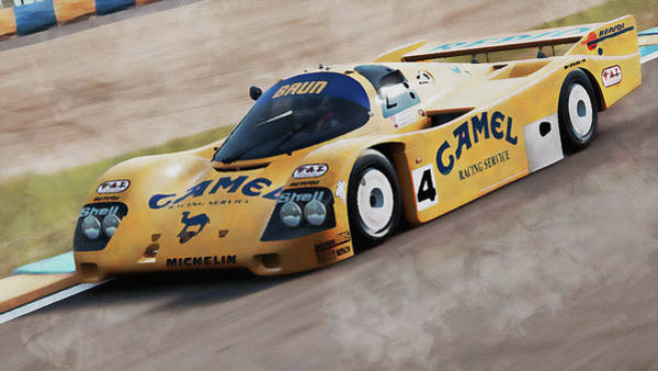 Painting - Porsche 962c Lang Heck Team Brun Camel - 01 by Andrea Mazzocchetti