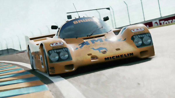 Painting - Porsche 962c Lang Heck Team Brun Camel - 02 by Andrea Mazzocchetti