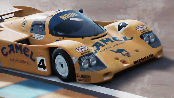 Painting - Porsche 962c Lang Heck Team Brun Camel - 03 by Andrea Mazzocchetti