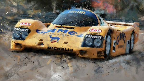 Painting - Porsche 962c Lang Heck Team Brun Camel - 07 by Andrea Mazzocchetti