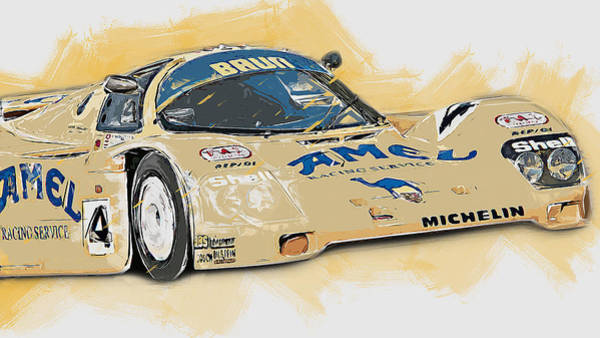 Painting - Porsche 962c Lang Heck Team Brun Camel - 09 by Andrea Mazzocchetti
