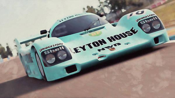Painting - Porsche 962c Leyton House - 30 by Andrea Mazzocchetti