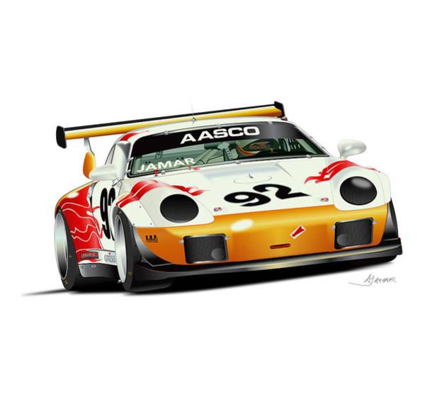 Single Drawing - Porsche Turbo No Background by Alain Jamar