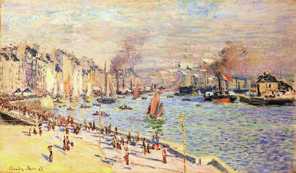 Riverbed Painting - Port Of Le Havre - Digital Remastered Edition by Claude Monet