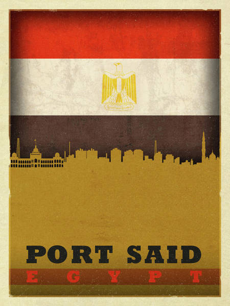 Wall Art - Mixed Media - Port Said Egypt City Skyline Flag by Design Turnpike