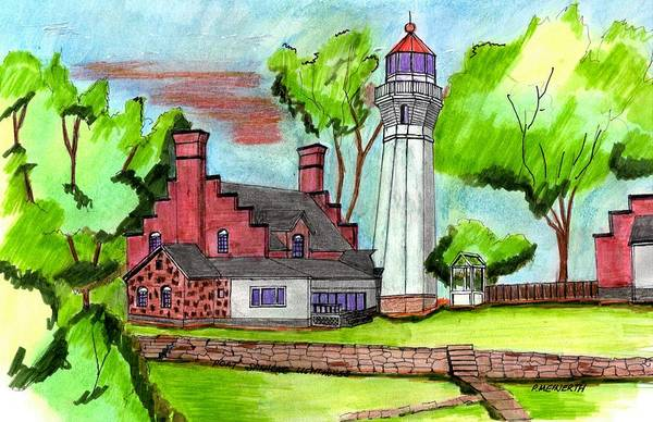 Wall Art - Drawing - Port Sanilac Lighthouse by Paul Meinerth