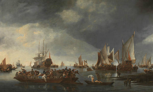 Wall Art - Painting - Port With Sailing Ships And Ferry by Hendrick Dubbels