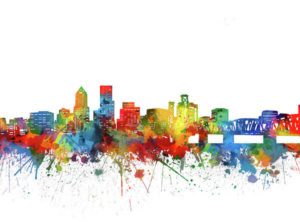 Portland Digital Art - Portland City Skyline Watercolor by Bekim Art