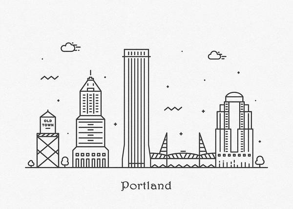 Wall Art - Drawing - Portland Cityscape Travel Poster by Inspirowl Design