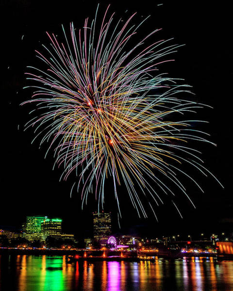 Photograph - Portland Fireworks Extravaganza by Wes and Dotty Weber