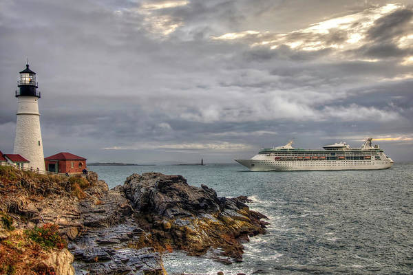 Photograph - Portland Head Light And Royal Caribbean by Joann Vitali