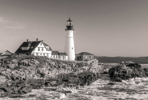 Photograph - Portland Head Light Black And White by Dan Sproul