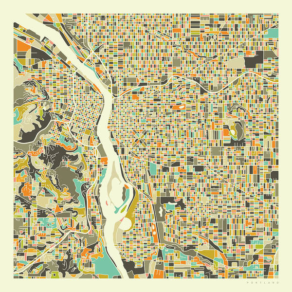 Portland Digital Art - Portland Map 1 by Jazzberry Blue
