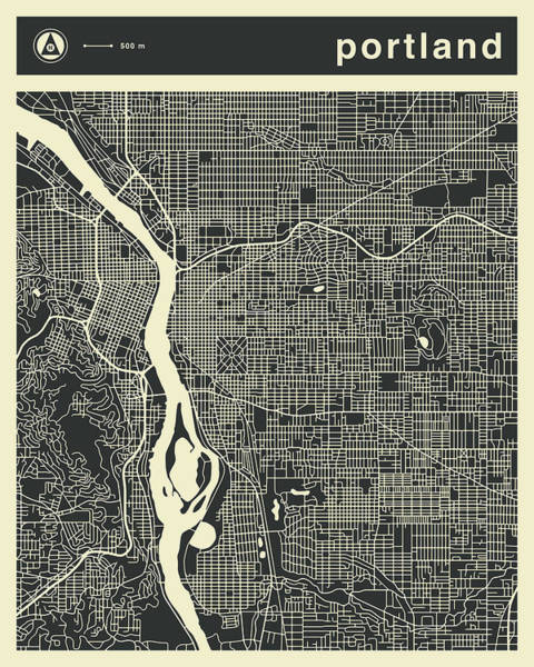 Portland Digital Art - Portland Map 3 by Jazzberry Blue