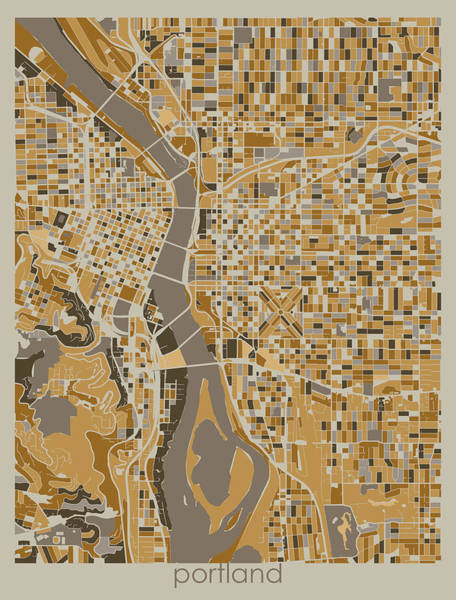 Wall Art - Digital Art - Portland Map Retro 4 by Bekim M