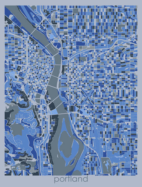 Wall Art - Digital Art - Portland Map Retro 5 by Bekim M