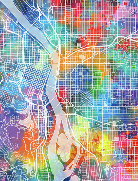 Portland Digital Art - Portland Map Watercolor by Bekim Art