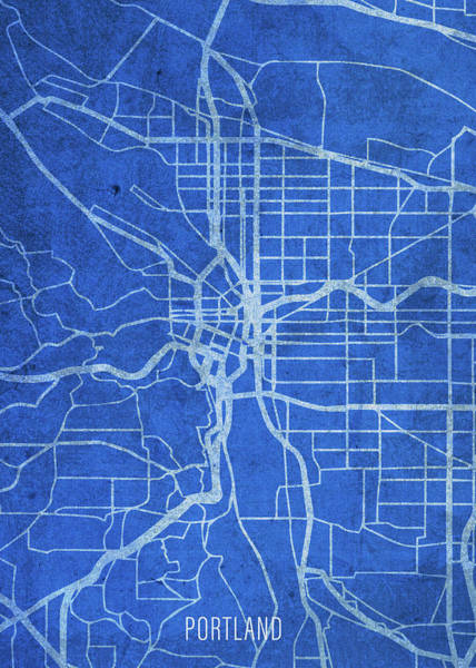 Wall Art - Mixed Media - Portland Oregon City Street Map Blueprints by Design Turnpike
