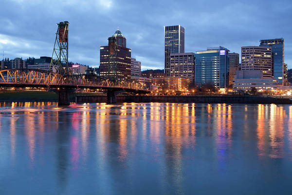 Outdoors Photograph - Portland, Oregon Skyline At Dusk by Bryan Mullennix