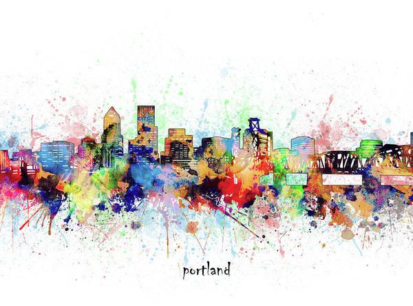 Wall Art - Digital Art - Portland Skyline Artistic by Bekim M
