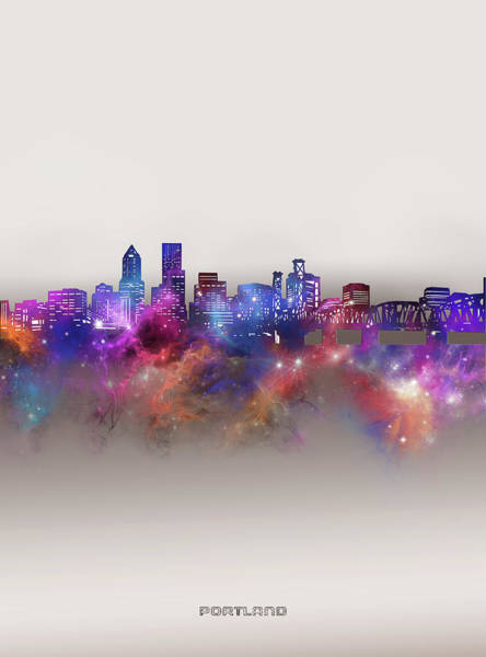Wall Art - Digital Art - Portland Skyline Galaxy by Bekim M